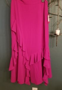 Vince Camuto pink ruffled skirt size 10 new with t